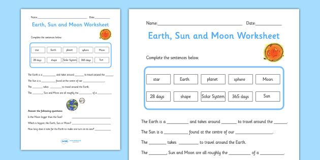 Earth, Sun and Moon Activity Sheet Pack - worksheets ...