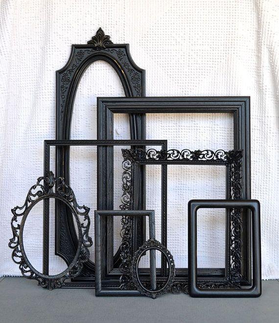 Black Ornate Vintage Frames Set of 8 Upcycled Frames by BeautiSHE ...