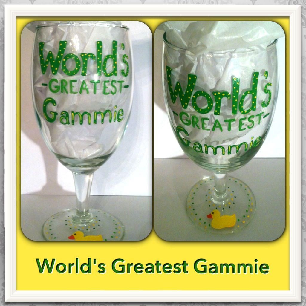 Worlds Greatest Gammie, hand painted glass! Facebook.com/daniellefigueroa.Art