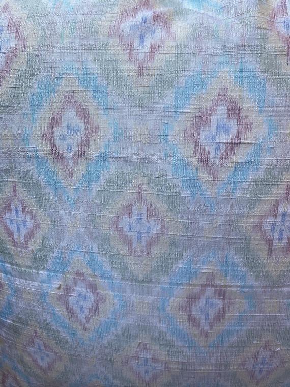 Vintage Silk Pastel Diamond Design Square Decorative Throw Pillow