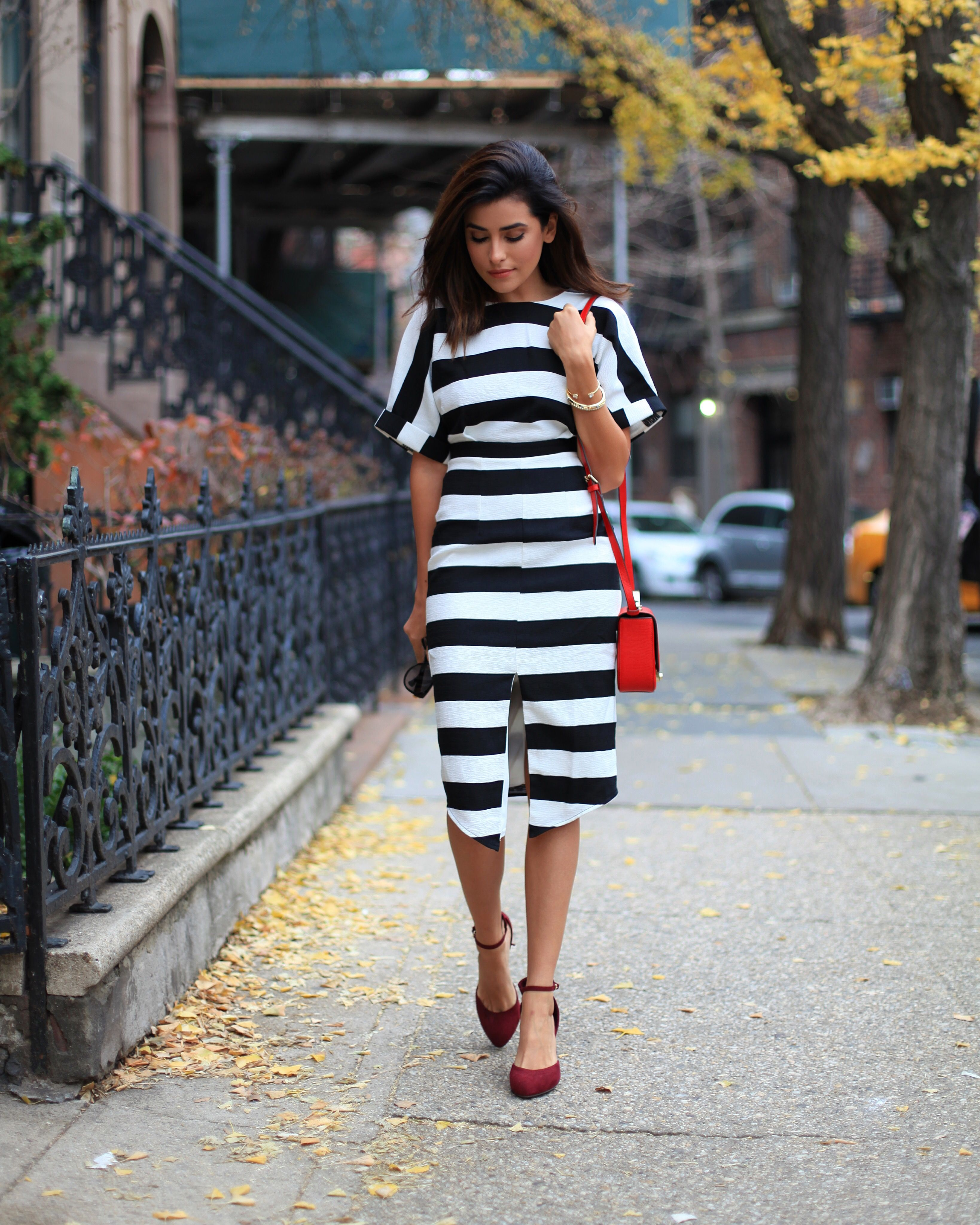 Red and white striped dress outfit