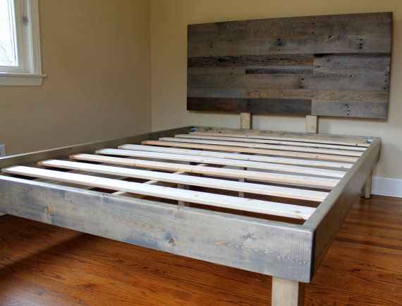 reclaimed wood bed weathered grey minimalist bed frame with patchwork headboard - Distressed Wood Bed Frame