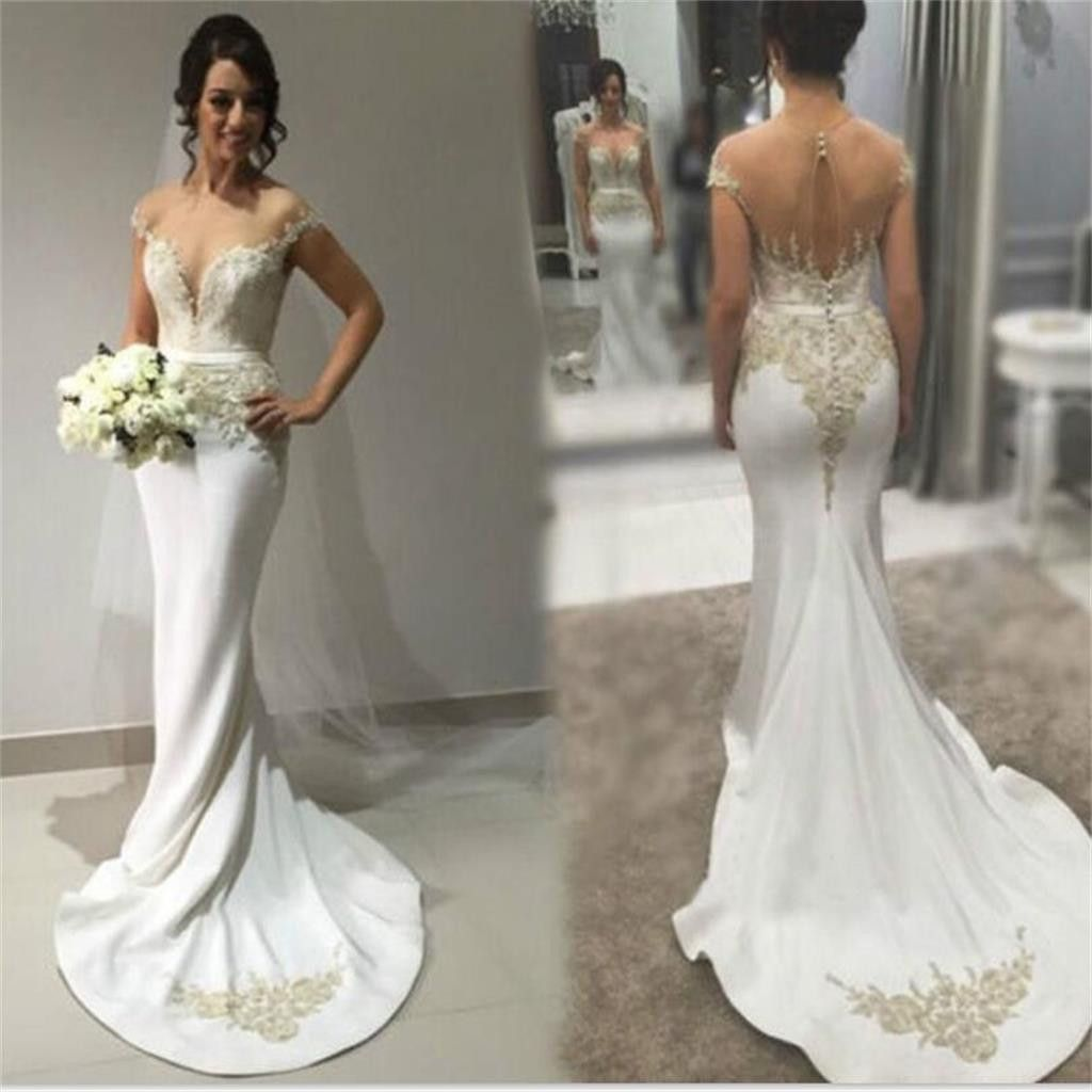 Wedding dress images  Sexy Mermaid Sweetheart Seethrough Back Simple Formal Chapel Train