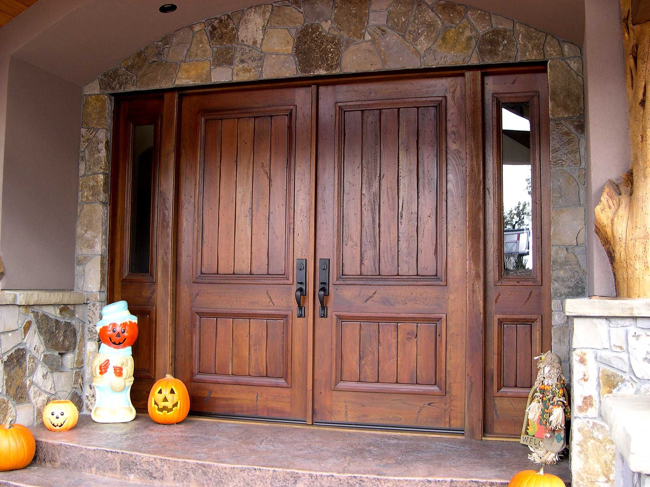 Exterior, : Double Rustic Exterior Entrance Door With Solid Dark ...