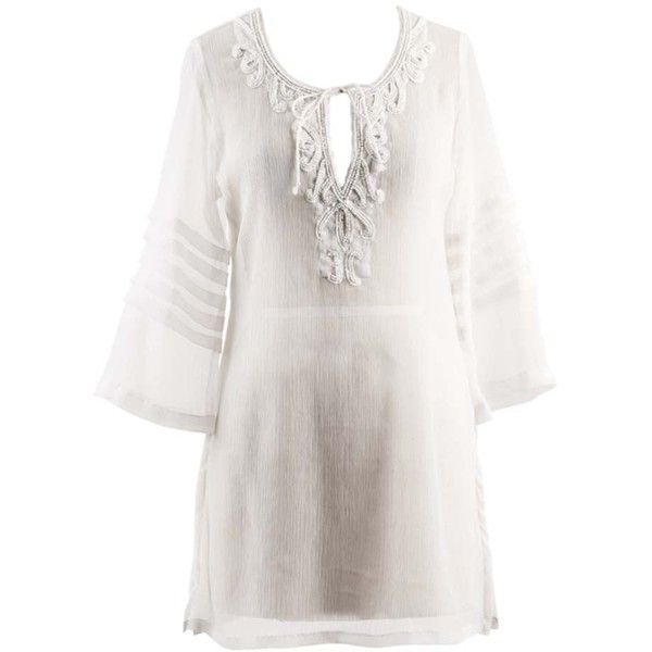 9f171349408 White Beaded Chiffon Beach Cover Up Dress ( 24) ❤ liked on Polyvore  featuring swimwear