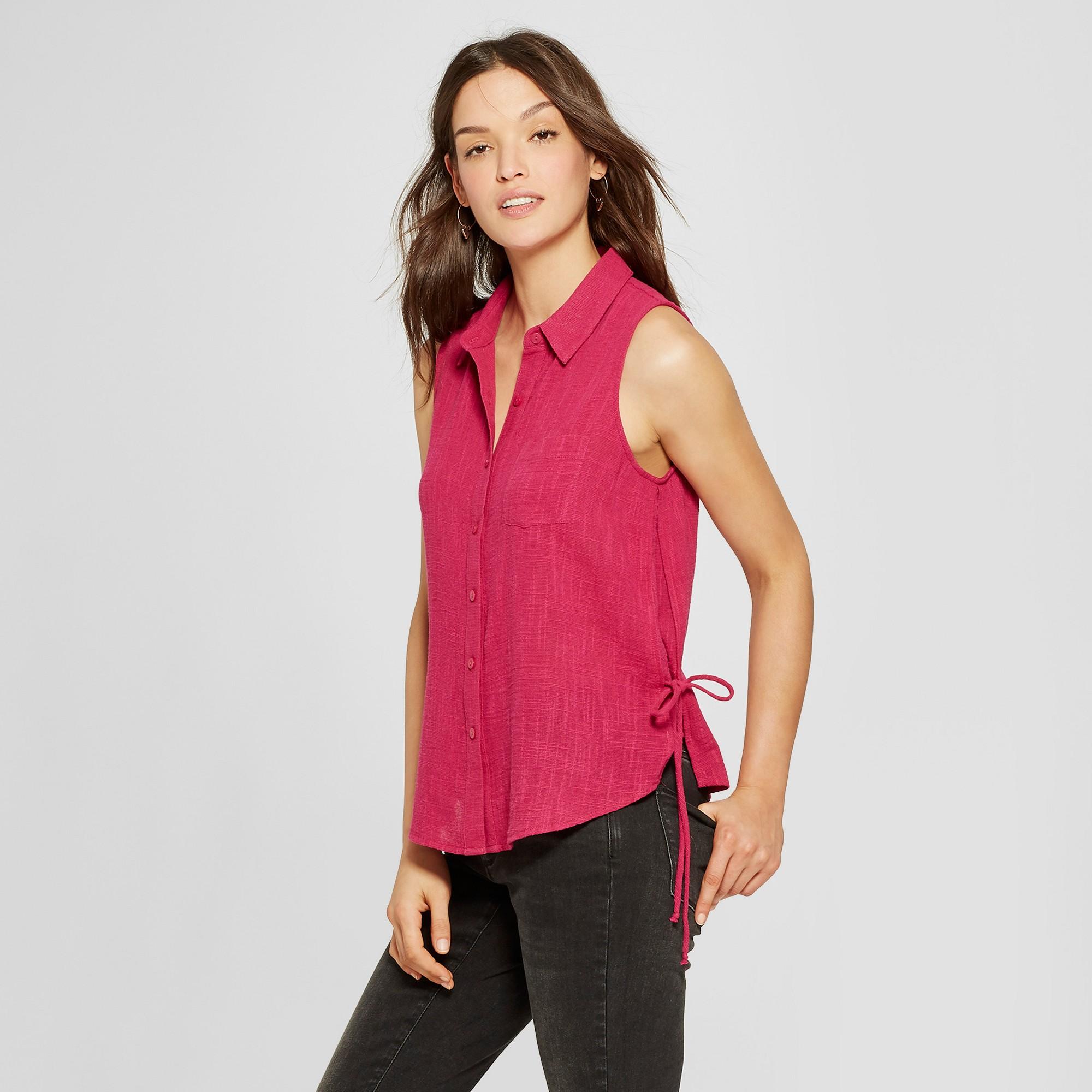 874c0e100 Women's Side Tie Button Front Tank - Universal Thread Pink Xxl ...