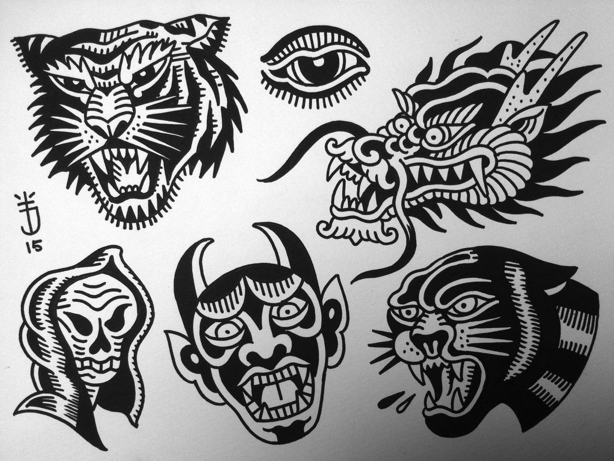 Planche Tatouage Old School Tattoo Joris Flash Tigre Dragon