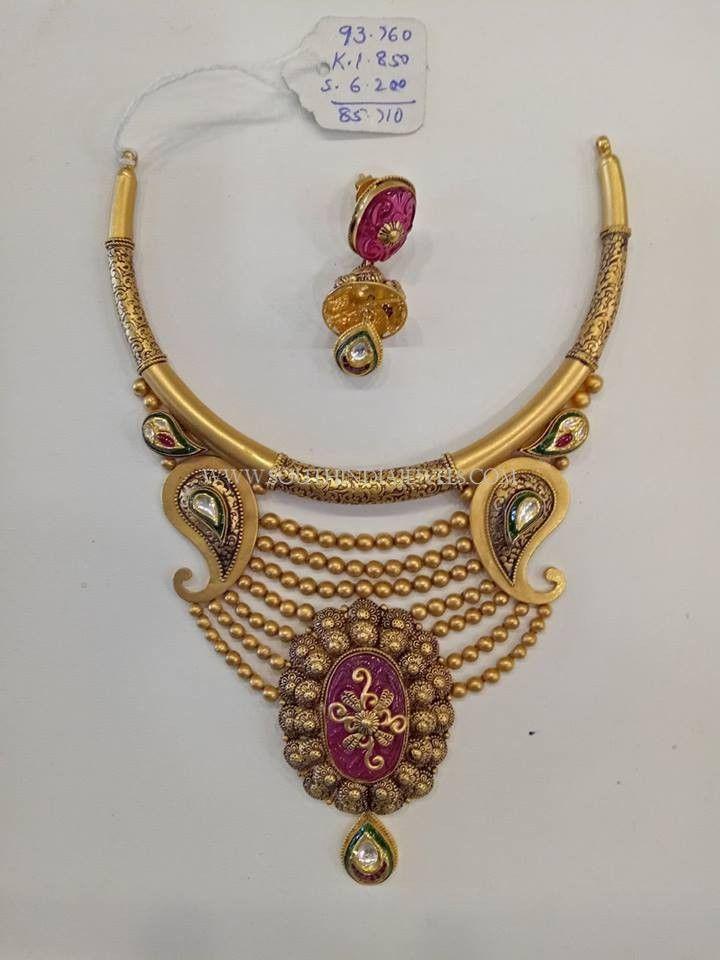Gold Designer Antique Set With Jhumka   Designers, Gold and Gold ...