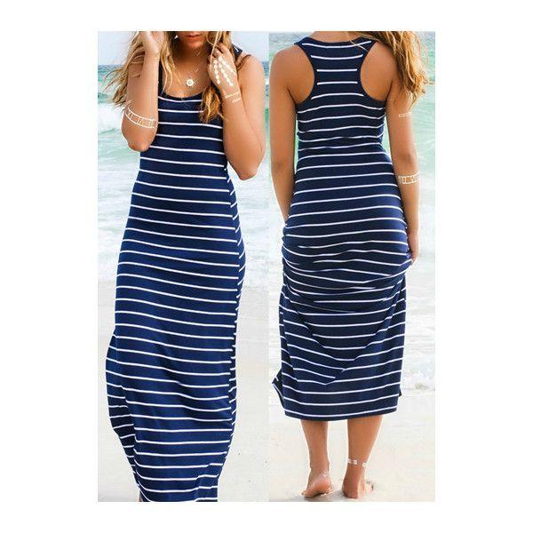 rotita round neck racerback stripe print maxi dress