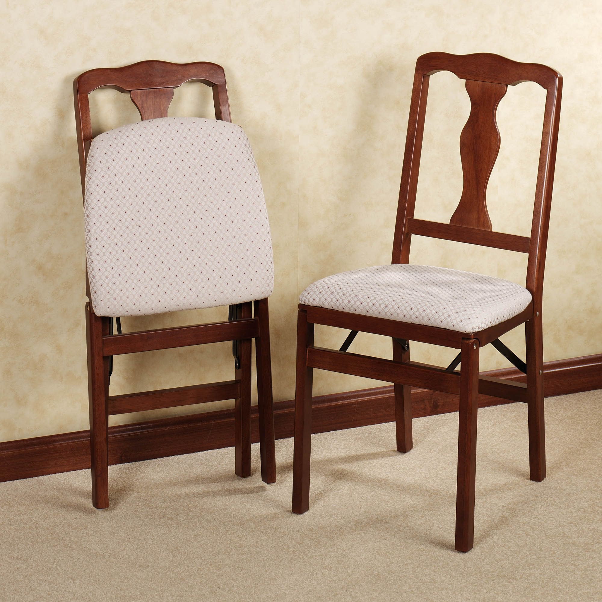 Queen Anne Folding Chair Pair Padded Folding Chairs Wooden Dining Chairs Dining Chair Pads