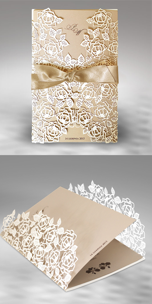 Wedding Cards Invitation Ribbon Design Zaproszenia