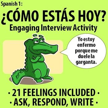 """$ Spanish 1: Como estas hoy? - Engaging Interview Activity. Included are 21 common feeling slips and two worksheets where students write down classmate responses. Great reinforcement for """"estar"""" and various feelings!"""