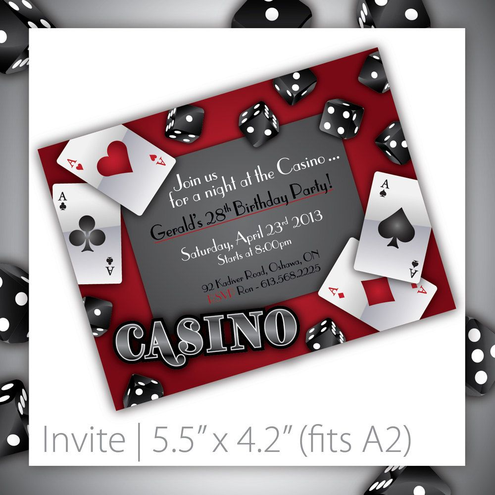 Casino Party Invitations PRINTABLE Gamble Love Via Etsy - Party invitation template: casino theme party invitations template free