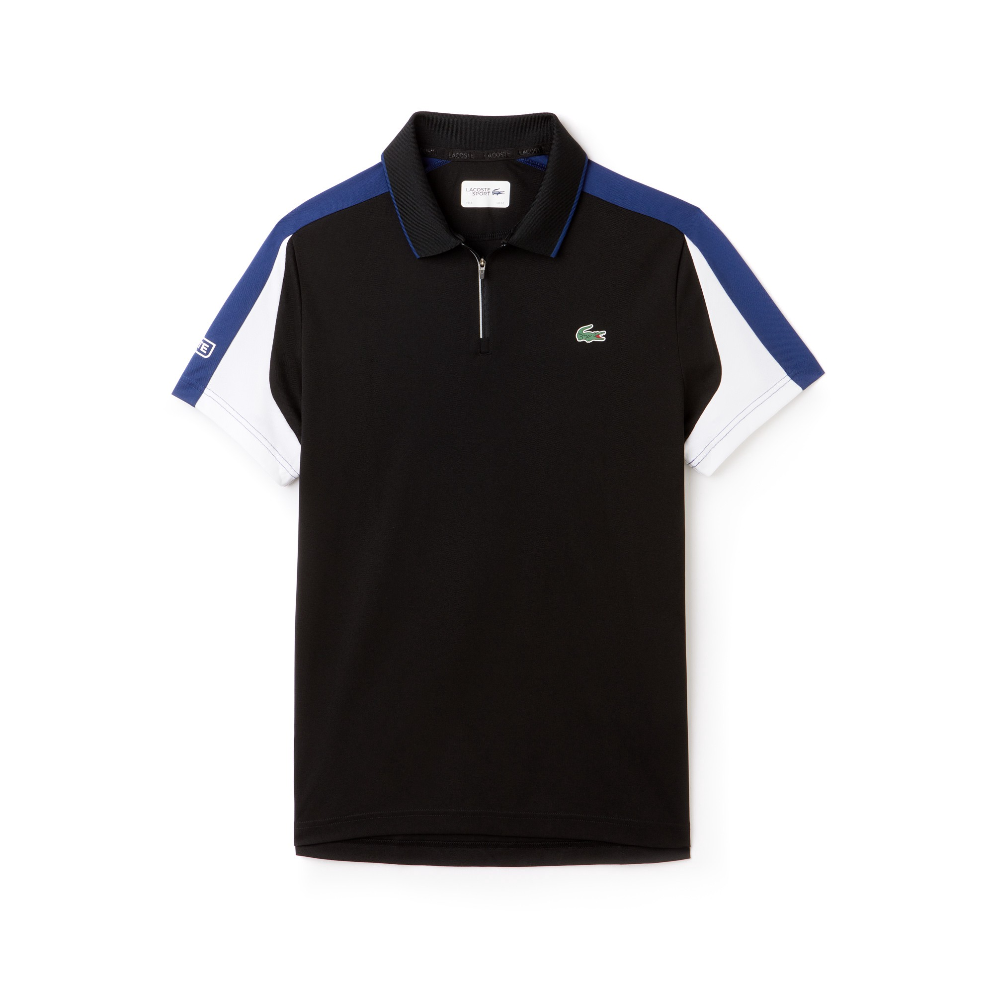 18810d83d0 Lacoste Men's Sport Zip Neck Contrast Bands Piqué Tennis Polo -  Black/Inkwell-White-Armou L Green