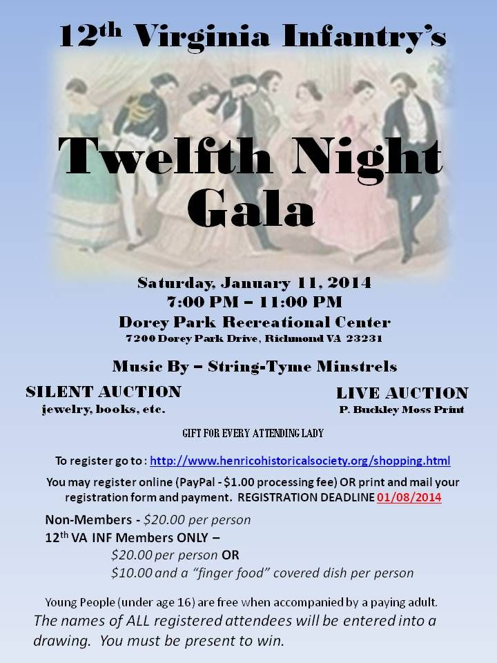 Information on this year's 12th Night Gala