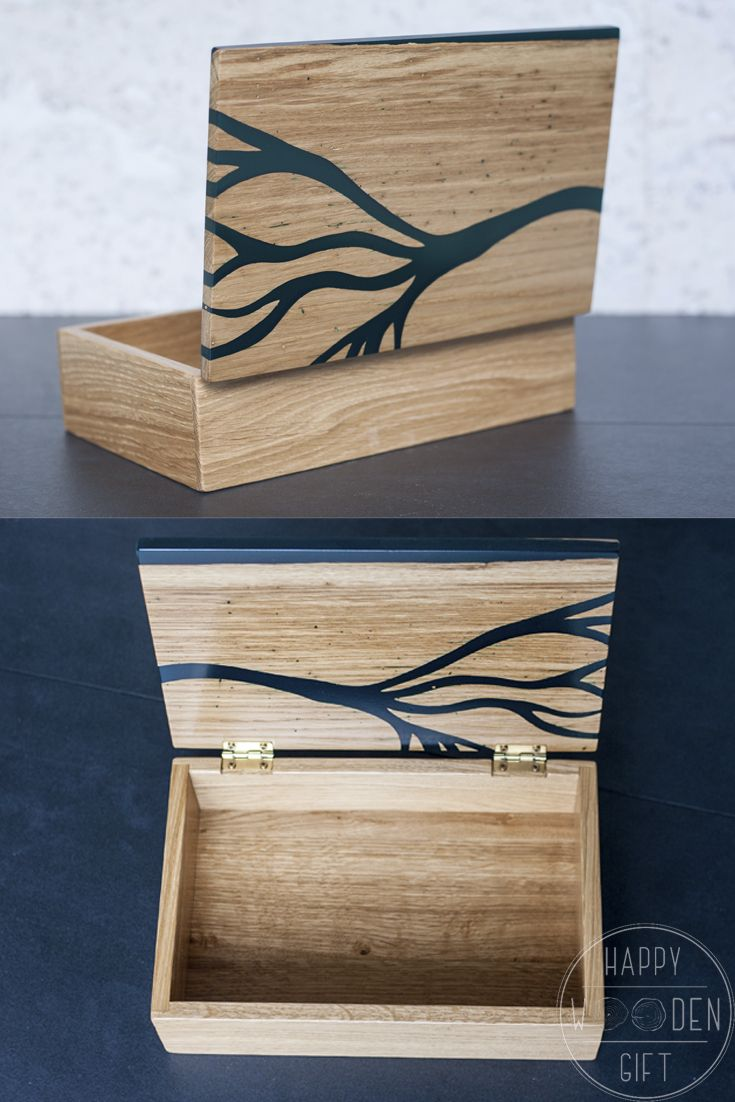 Personalized Oak jewelry box with black resin Wood Storage Box Wooden keepsake with black epoxy resin Memory Box with epoxy resin