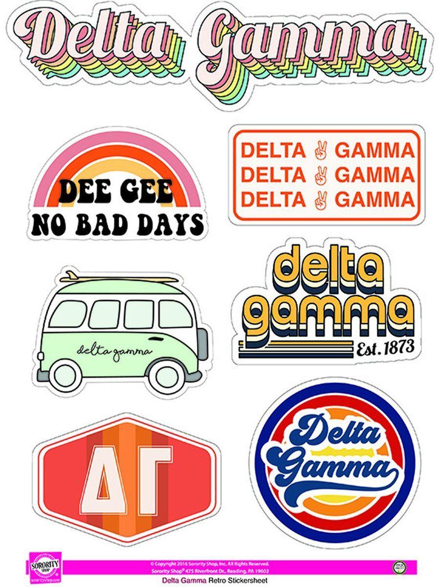 Delta Gamma Sorority Stickers Retro Alpha Epsilon Phi Kappa