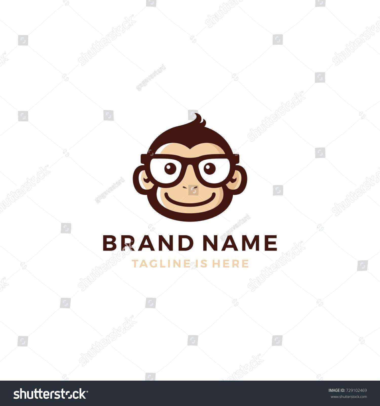 f65644955232 monkey chimp geek smart charm mascot character logo template vector ...