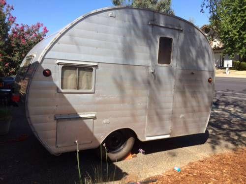 1952 Aloha Aluminium Canned Ham Camp Trailer Vintage Travel Trailers Vintage Camper Camping Trailer