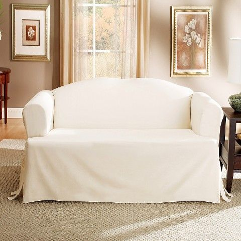 Sure Fit Cotton Duck Tcushion Loveseat Slipcover - Natural
