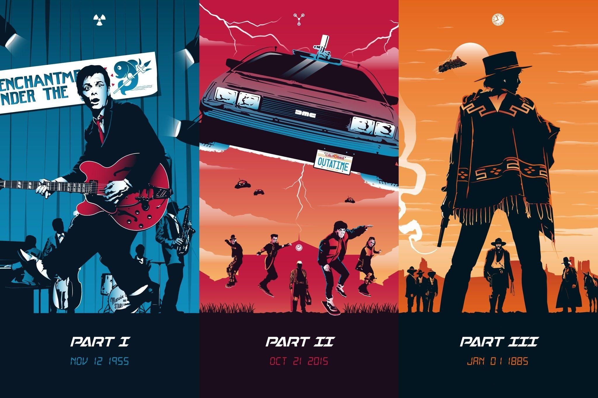 Fiction Collage Poster Art Characters Delorean Films Fan Art