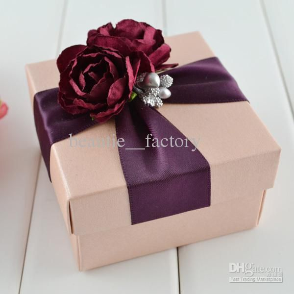 Decorated Gift Box Fascinating 100 Pcs Pink Square Box With Wine Ribbon Flower Decoration Wedding Design Ideas
