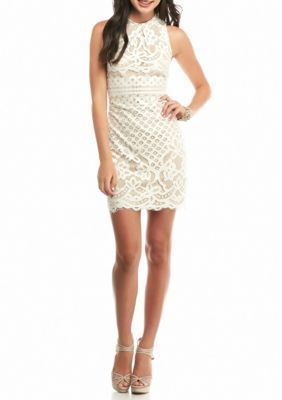 Love fire lace high neck fit and flare dress