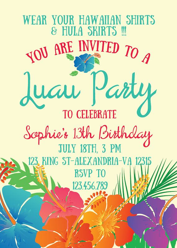 Luau invitation birthday party hawaiian party invitation hawaiian luau invitation birthday party hawaiian party invitation hawaiian birthday stopboris Image collections
