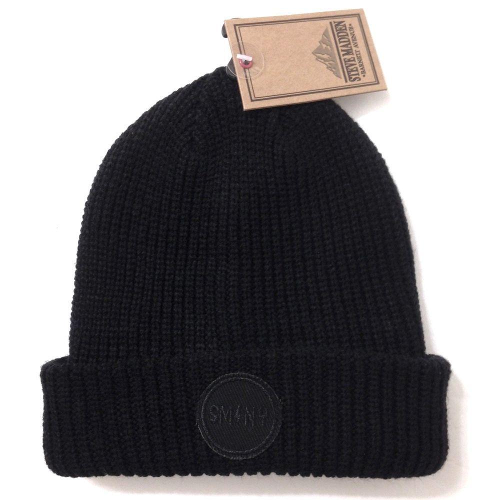 4e0e4d88a2341 NEW Men Women STEVE MADDEN CUFFED BEANIE Winter Knit Ski Hat Black Circle  Patch  SteveMadden  Beanie