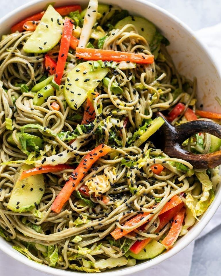 Skipping the lettuce and swapping it for hearty soba noodles makes this a salad recipe that actually tastes better the longer it sits.