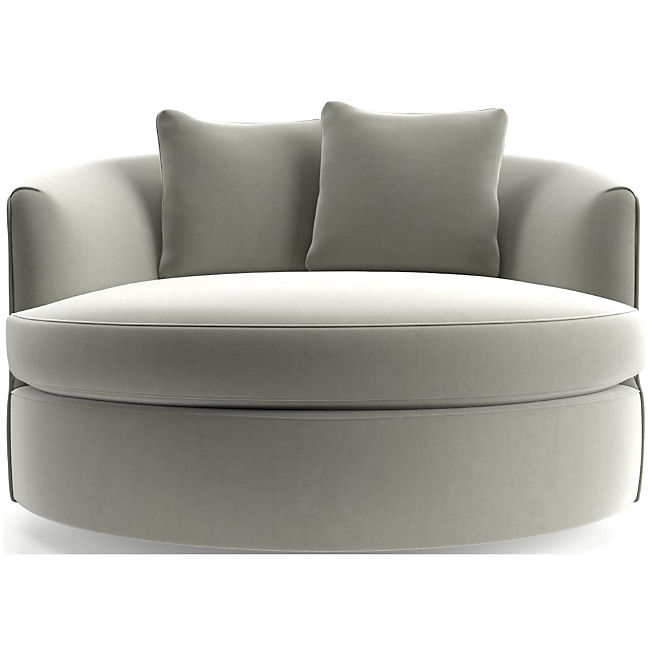 Tillie Grande Swivel Chair Reviews Crate And Barrel In 2021 Swivel Chair Oversized Chair Living Room Round Swivel Chair