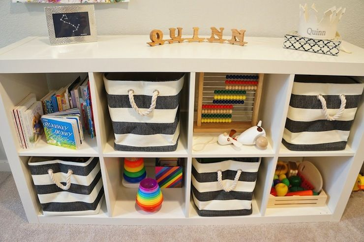 ikea kallax shelf with the container store rugby stripe. Black Bedroom Furniture Sets. Home Design Ideas