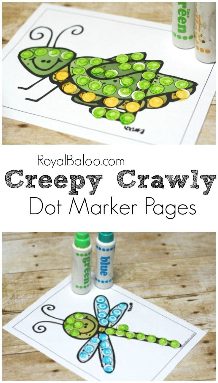Demonstrate Development Of Fine And Gross Motor Coordination Fun Dot Marker Pages With A Bug Insect General Creepy Crawly Theme