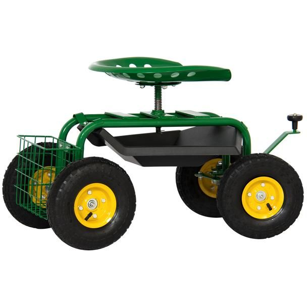 4 Wheel Mobile Rolling Garden Work Seat W Tool Tray And Basket Ergonomic Garden Tools Stool With Wheels Garden Cart
