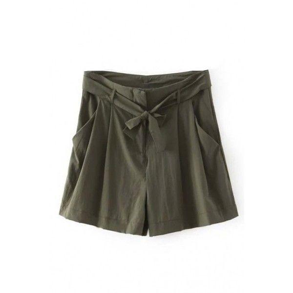 LUCLUC Dark Green High Waist Shorts (10.805 CLP) ❤ liked on ...