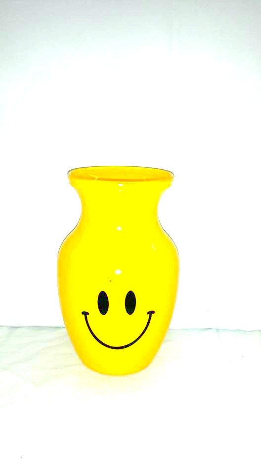 Vintage Yellow Smiley Face Vase Yellow Glass Vase Happy Face Vase