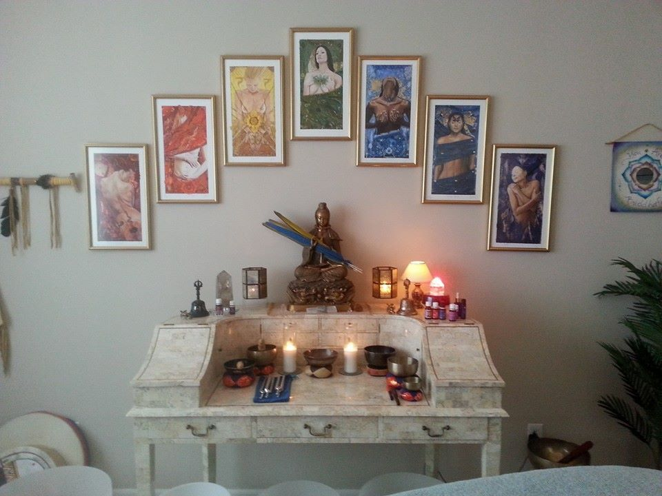 Small Giclee signed prints  a beautiful display of my 7 chakra goddess images , framed and on the wall in someones healing room. To buy these prints click https://www.etsy.com/shop/JoJaysonGoddessArt