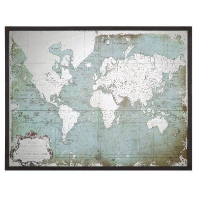 Uttermost Mirrored World Map 44W x 32.5H in. 30400