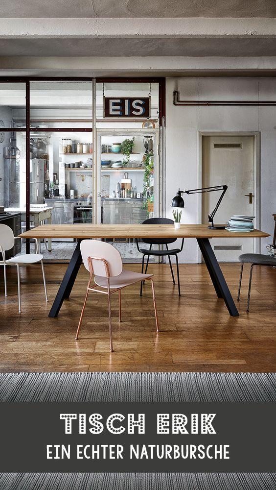 Moderner Esstisch mit Massivholzplatte Esstisch Erik ist ein echter