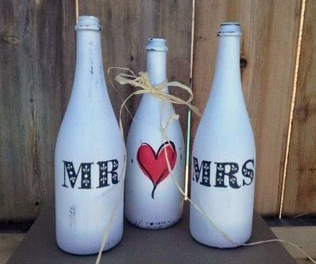 Mr and Mrs Painted Wedding Bottles with HeartSet by