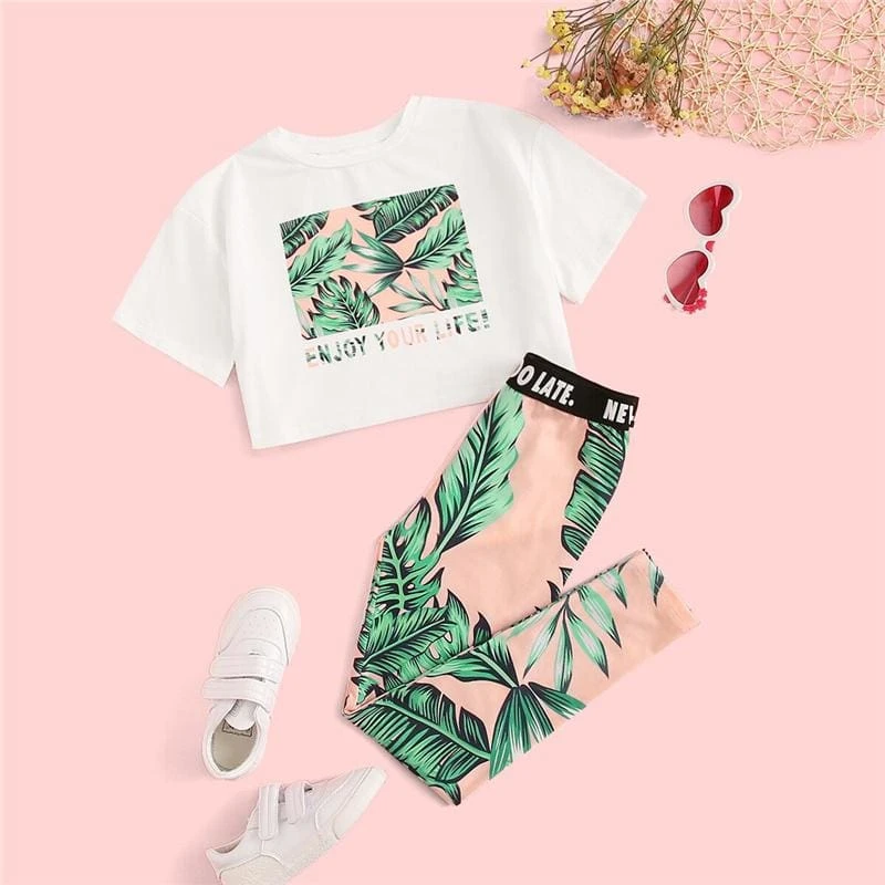 Girls Boho Letter And Plants Print Tee With Leggings - Popviva #children #instakids #kidsfashion #kid #babyboy #babies #child #boy #girl #childrenphoto #babygirl  #fashionkids #toddler #mom #little #play #kidsstyle #kids #children  #kidsfashion #kid  #babyboy #babies #child #boy #girl #childrenphoto #babygirl  #fashionkids #toddler #mom #little #play #kidsstyle #adorable #mother #cutekidsclub #momlife #familytime #instagramkids #dad #familystyle #kidsaccessories #kidsbags #kidshairaccessories #k