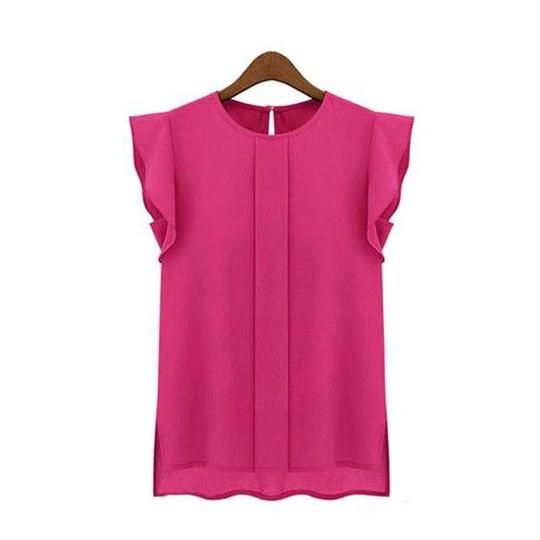 Womens Casual Loose Chiffon Short Tulip Sleeve Blouse Shirt Blouse Tops Summerrricdress #chiffonshorts