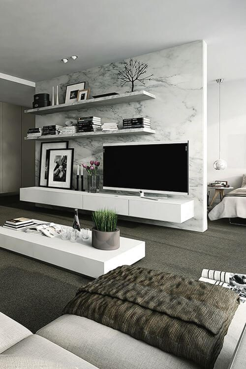 21 Modern Living Room Decorating Ideas | boom | Home decor, Tv wall ...