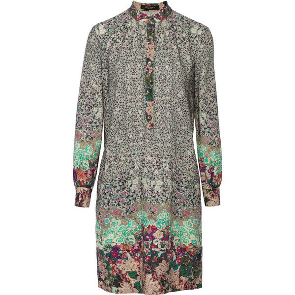 Etro Floral-print wool dress (9.988.575 IDR) ❤ liked on Polyvore featuring dresses, gray green, kohl dresses, black flower print dress, floral pattern dress, floral print dress and woolen dress