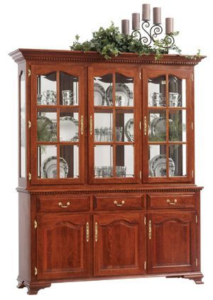 Amish Dobbs China Hutch With Leaded Glass Doors 423