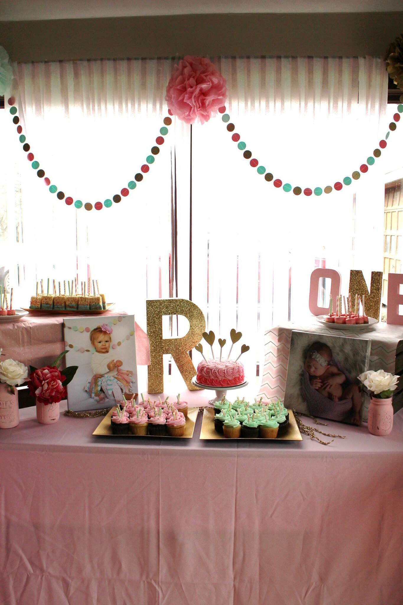 1st Birthday Table Decorations Pink Mint And Gold Cupcakes Streamers