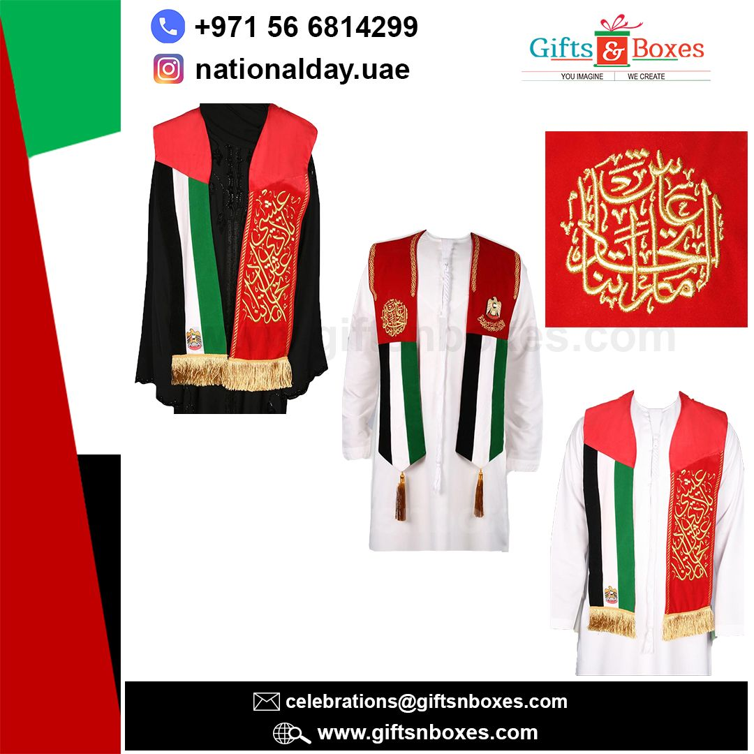 Customized UAE National Day VIP scarfs with elegant golden Arabic branding in embroidery, gold foiling, and printing. #uaenationaldaygifts #vipnationaldayscarf #nationaldaygiveaways #vipgift #premiumgift #uaenationalday