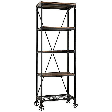 The Morgan Bookshelf From Verona Home Boasts Clean Lines Chic Style And Easy Movement On 4 Base Wheels Lightly Stained Wood Shows A Rich Grain