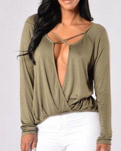 dd4fb7fb7ca Sexy criss cross t shirt for women plain black plunging neckline tops