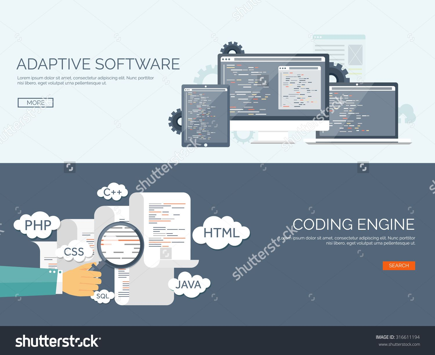 Vector Illustration. Flat Background. Coding And